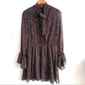Zara trendy dark floral mini dress tie neck